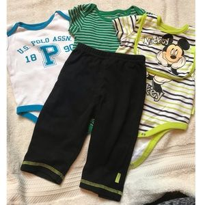 Other - 3 baby boy onesies,pants and matching bib, 3-6 mo.